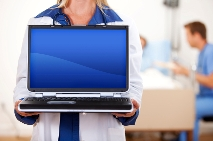image of a nurse holding a laptop